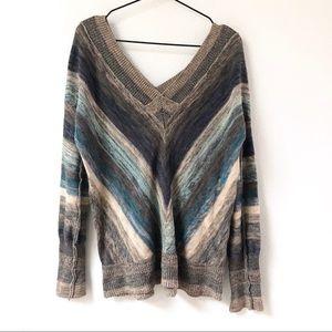 Free People • Grey & Blue Striped V Neck Sweater